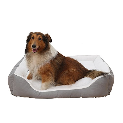 Petwe Pet Bed Soft Plush Dog Bed Reversible Bolster Pillow With Removable Washable Cover, Small Medium Large Jumbo, White by pet we