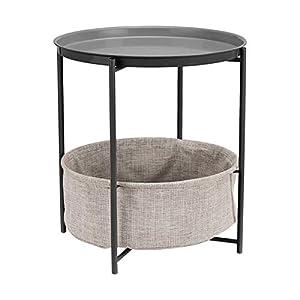 Amazon Basics Table d'appoint ronde de rangement – Gris anthracite avec tissu gris chiné
