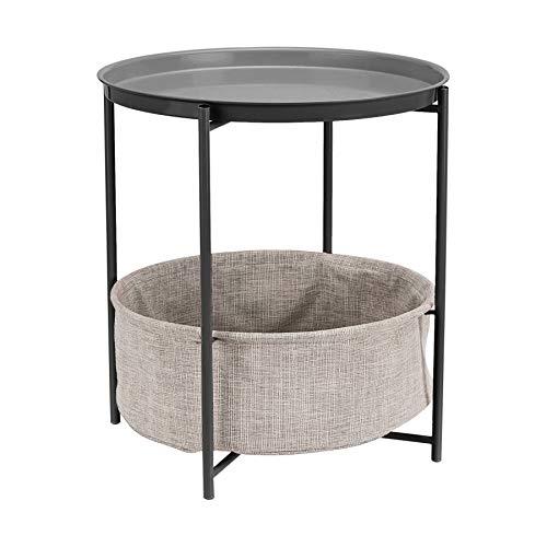 AmazonBasics - Mesa redonda con capacidad de almacenamiento en gris oscuro con tejido gris jaspeado