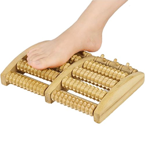 Foot Massager Wooden Roller Acupressure Reflexology Tool Fasciitis Pain Reliever Relieve Plantar Fasciitis Arch Pain Heel Foot Arch Pain [Large]