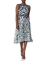 Women's Sleeveless Lace Overlay Flare Skirt Party Dress