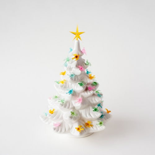 Retro Style Lighted White Tree with Birds (Christmas Tree Old Toppers Fashioned)