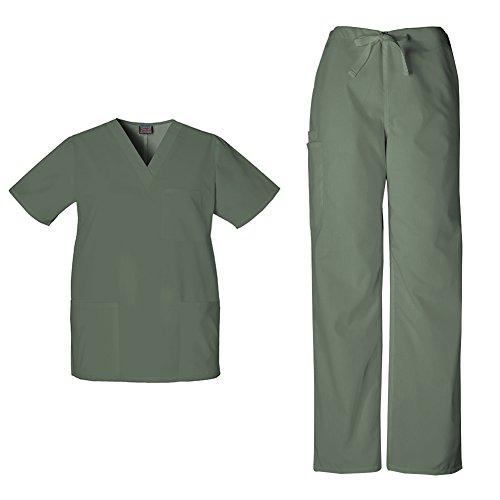 Cherokee Workwear Unisex V-neck Top 4876 and Cherokee Workwear Unisex Drawstring Cargo Pant 4100 (Olive - Medium)