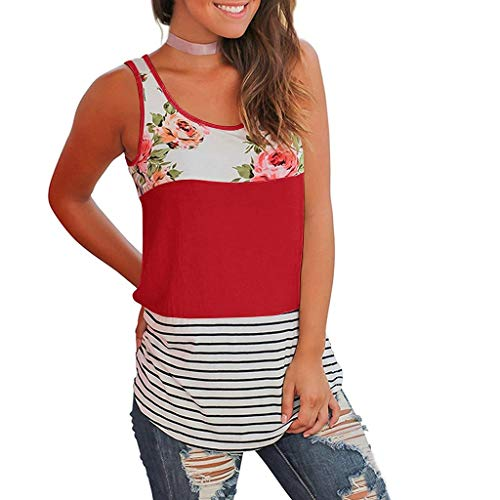 - Women Casual Floral Stripe Print Patchwork Sleeveless Tank Top Vest Blouse