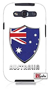 Premium Australia Flag Badge Direct UV Printed Unique Quality Hard Snap On Case for Samsung Galaxy S3 SIII i9300 (WHITE)