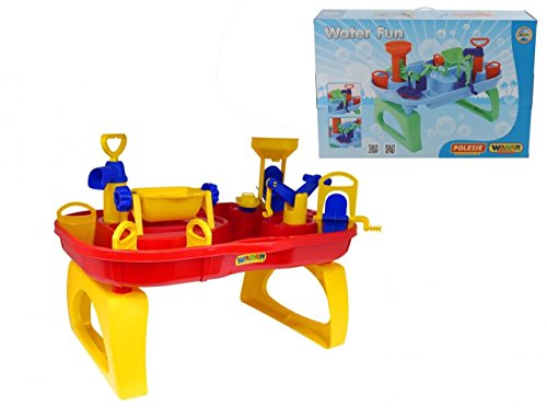 (Wader Quality Bathworld Toy For Kids, Red/Blue/Yellow, Fits Standard Bathtub, with a Pump, A Tilting Water Basin, A Water Wheel, A Water Mill, a Crane Boat & Removable Gates)