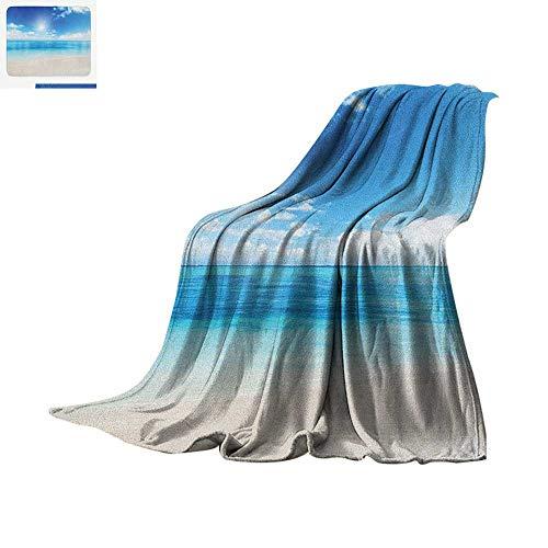 - Ocean Custom Design Cozy Flannel Blanket Golden Beach View from Caribbean Sea in a Sunny Day Exotic Summer Print Digital Printing Blanket 80