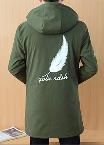 Felpa Cappotto Ttyllmao Addensare Sottile Zip Outwear Verde Esercito Maschile Moda Fino Cappuccio Pile Foderato Con rqvwFr