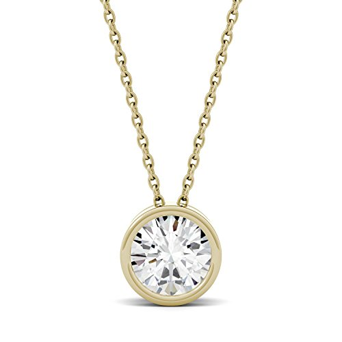 14K Yellow Gold Moissanite by Charles & Colvard Bezel Set Solitaire Pendant, 0.50ct DEW