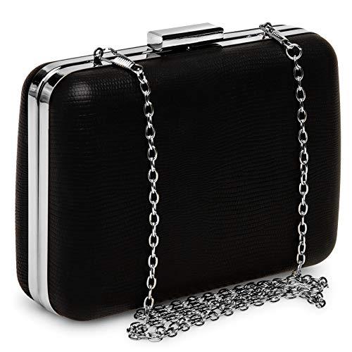 Piel Serpiente Estilo De Estampado Negro Y Mujer Clutch Box Caspar Ta529 Para wxIq8fFWv