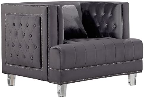 Meridian Furniture Lucas Collection Modern | Contemporary Deep Button Tufted Velvet Upholstered Chair