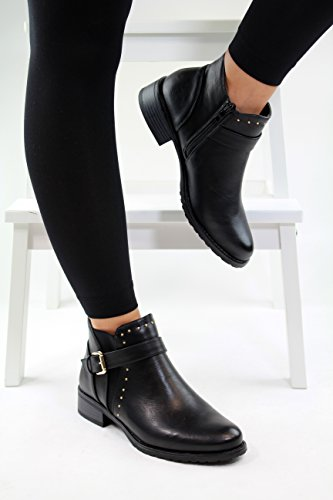 New Womens Ladies Flat Ankle Boots Buckle Side Zip Casual Low Heel Shoes (37 / 4 UK, Black)