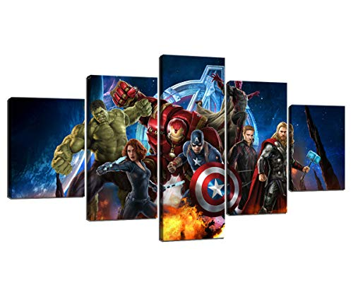Miracle Avenger Ultron Super Hero Wall Art Paintings 5 Panel Large Prints Posters Home Decor Decal Canvas Pictures Photos for Bedroom Living Room Framed Ready to Hang (60''W x 32''H) (Hero Wall Painting Super)