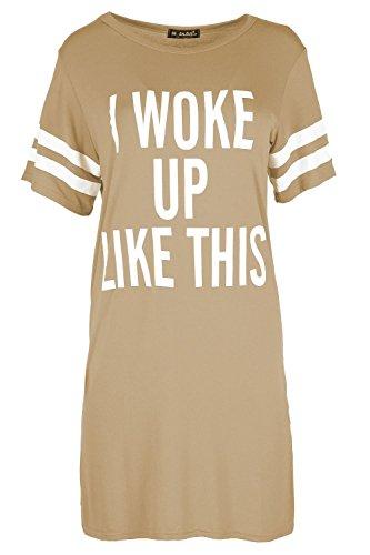 "BE JEALOUS Womens Baggy Kleid Top Damen Flügelärmel ""I Woke Up Like This"" Trikot T-Shirt - Mokka, 36/38"