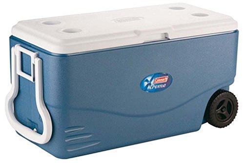 (Coleman 100 Quart XTREME 5 Day Cooler with Wheels and Handle, Extra ThermoZone Insulated that Holds Cold Longer for Wine and Water Drinks, Ideal for Party Grocery and Camping, CFCs HFCs and HCFCs FREE )