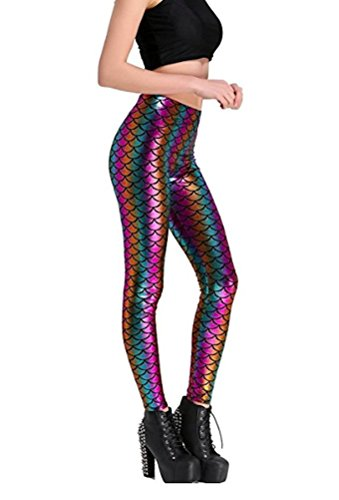 Maxi Funny Cool Costume Birthday Marry Christmas Halloween PartyThemed Mermaid Leggings for Women Clothes Pants -