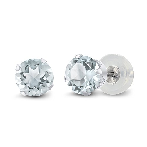 Gem Stone King 10K White Gold Sky Blue Aquamarine 4-Prong Stud Earrings Gemstone Birthstone 0.90 Ct Round 5MM