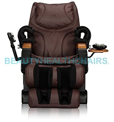 B-health Luxury Shiatsu Massage Chair with deep quad massage rollers with Jade & built in Heat Therapy, Body Scan, Mp3 Synched Massage, 69 Air Bags (Brown)