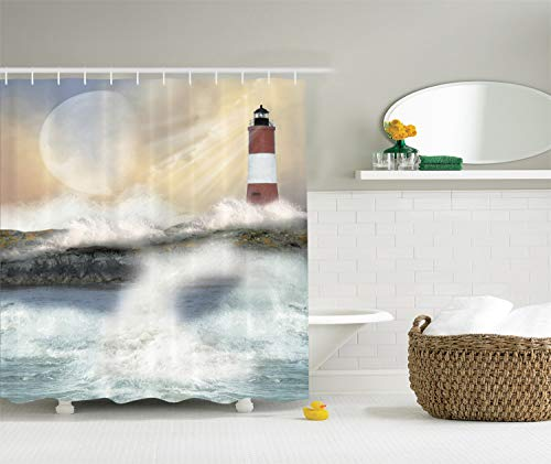 (Ambesonne Lighthouse Shower Curtain, Oil Painting Style Artwork of Stormy Sea Splashing Waves Moon and Lighthouse, Cloth Fabric Bathroom Decor Set with Hooks, 84