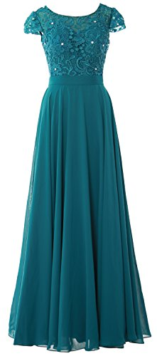 MACloth Women Cap Sleeve Mother of Bride Dress Vintage Lace Evening Formal Gown (Custom Size, Teal)