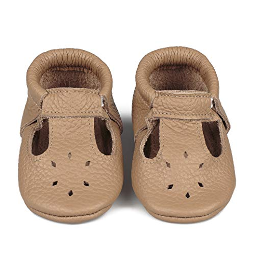 LittleBeMocs T-Strap Baby Moccasins (Italian Leather) Soft Sole Shoes for Boys and Girls | Infants, Babies, Toddlers (2, Cappuccino)