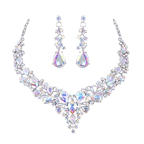 See the beauty Bridal Austrian Crystal Statement Necklace Earrings Jewelry Set Gifts for Wedding Dress (White AB)