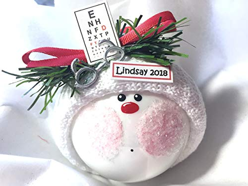 Eye Doctor Gift Christmas Ornament Eye Chart Glasses Hand Painted Handmade Personalized and Themed by Townsend Custom Gifts - 613/CA61