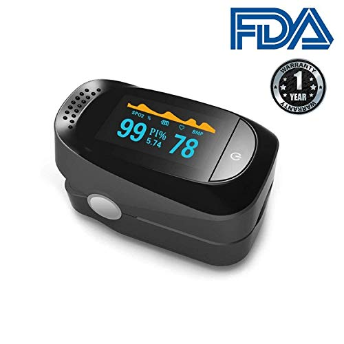 Fingertip Pulse Oximeter, Blood Oxygen Saturation, with Plethysmograph and Perfusion Index, SPO2 Alarm, 6 Display Mode, OLED Display, Lanyard, for Adults and Children. Unodeco US020. ()