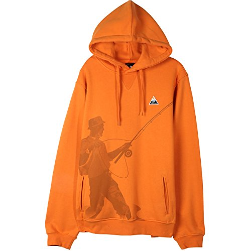 (LRG Mens Fish Lyfe Hoody Pullover Sweatshirts Large Orange Bang)