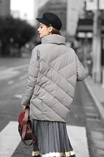 you Jacket Clearance u Anorak Quilted Resistant Water Collar Grey Women Stand rrCwOq