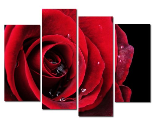 Wieco Art Red Rose on Black Large Modern Stretched and Framed Flowers Giclee Canvas Prints 4 Panels Floral Pictures Paintings on Canvas Wall Art Work for Living Room Bedroom Home -