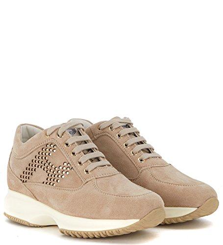 Hogan Women's Sneaker Interactive in Pelle Zenzero Con H Laserata 38,5(EU) -5.5(UK) Brown