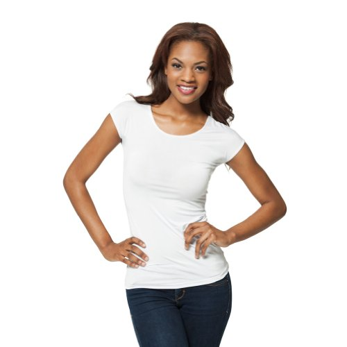 [Modbod Modest Layering Scoop Neck Cap Sleeve Shirt - Extra Length (Large, White)] (White Cap Sleeve Tee)
