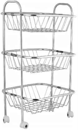 Shree Prayosha Stainless Steel 3 Layer Kitchen Trolley Rack  Silver