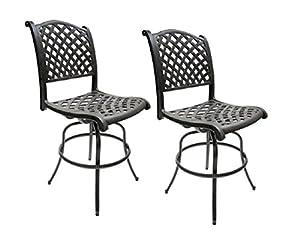 Patio Bar Height Bar Stools Armless Outdoor Swivel Furniture Cast Aluminum  sc 1 st  Amazon.com & Amazon.com: Patio Bar Height Bar Stools Armless Outdoor Swivel ... islam-shia.org