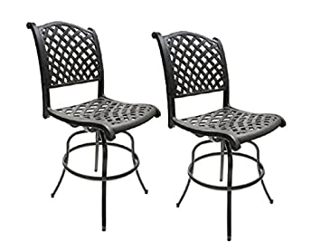 patio bar height bar stools armless outdoor swivel furniture cast aluminum