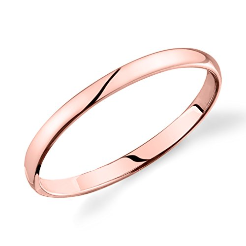 14k Rose Gold 2mm Plain Wedding Band Light Comfort Fit Ring ()