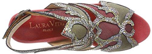 Sul Donna Sandali 028 rouge Chiusura Rosso Vita Celeste Laura Rouge Retro Con YqFRa