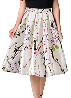 JXG-Women Stylish Pleated Vintage Skirt Floral A-line Midi Skirts