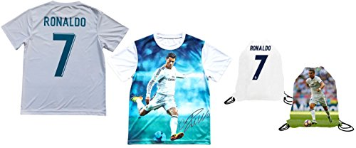 fan products of Ronaldo Jersey Style T-shirt Kids Cristiano Ronaldo Jersey Picture T-shirt Gift Set Youth Sizes ✓ Premium Quality ✓ ✓ Soccer Backpack Gift Packaging (YS 6-8 Years Old, Ronaldo)
