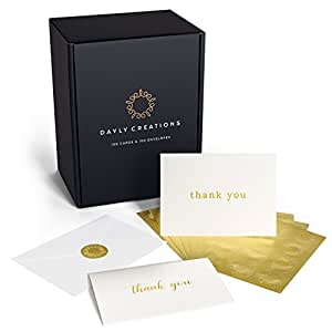 Amazon thank you cards bulk 100 gold foil letterpress thank thank you cards bulk 100 gold foil letterpress thank you notes with envelopes gold reheart Image collections