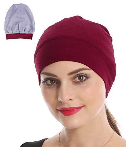 - Slap Night Cap Sleep Hat - Red Women Organic Bamboo Cotton Satin Silk Satun Fleece Lined Bonnet Slouchy Summer Scarf Hair Cover Beanie for Women Men Lady Lightweight Light Thin Jersey Chemo