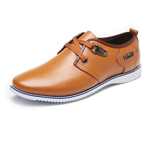Yaojiaju Leder Oxford Schuhe Männer, Formale Business Schuhe Matte Wing-Spitze Echtes Leder Oberen Lace up Breathed Ausgekleidet Oxfords für Männer Orange