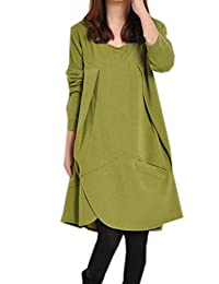EOZY Women Cotton Linen Loose Fit Pullover Long Top Blouse