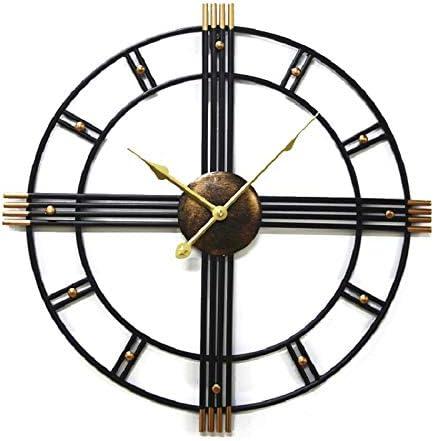 LYTZX Los relojes de pared, de hierro forjado reloj de cuarzo redonda, ninguna cubierta de campana y el diseño de segunda mano, movimiento silencioso, adecuado for vivir pasillo del dormitorio del sit: