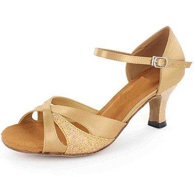 XIAMUO Latein individuelle Damen Sandalen angepasste Ferse mit Buckie Dance Schuhe (weitere Farben), Schwarz, US 8 / EU 39/UK6/CN 39