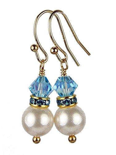 DAMALI 14k Gold Filled 8MM Akoya Pearl Earrings Aquamarine March Birthstone Swarovski Crystal Accents