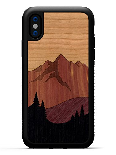 Carved | iPhone X | Luxury Protective Traveler Case | Unique Real Wooden Phone Cover | Rubber Bumper | Mount Bierstadt
