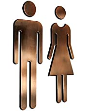 Fenteer 2 paar dames en heren wc-bordje deurbordje toiletbord brons - brons, 20x6,5 cm