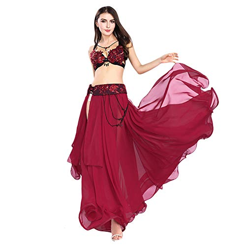 ROYAL SMEELA Belly Dance Costume Set for Women Red Belly Dance Skirt Bra and Belt Over Size, 3 Colors and 4 Sizes - Hand Embroidery Belly Dance Costume